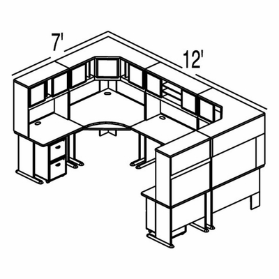 Bush Advantage Light Oak Design 42 - Plan For 12' by 7' Work Station