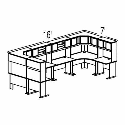 Bush Advantage Light Oak Design 49 - Plan For 16' by 7' Work Station