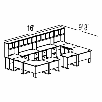Bush Advantage Light Oak Design 50 - Plan For 16' by 10' Work Station