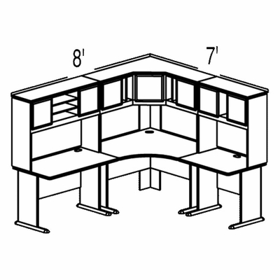 Bush Advantage Medium Cherry Design 15 - Plan For 8' by 7' Work Station