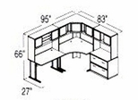 Bush Advantage Medium Cherry Design 16 - Plan For 8' by 7' Work Station