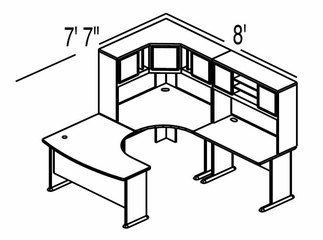 Bush Advantage Medium Cherry Design 18 - Plan For 8' by 8' Work Station