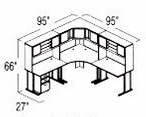 Bush Advantage Medium Cherry Design 22 - Plan For 8' by 8' Work Station