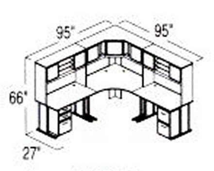 Bush Advantage Medium Cherry Design 23 - Plan For 8' by 8' Work Station