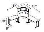 Bush Advantage Medium Cherry Design 25 - Plan For 8' by 9' Work Station