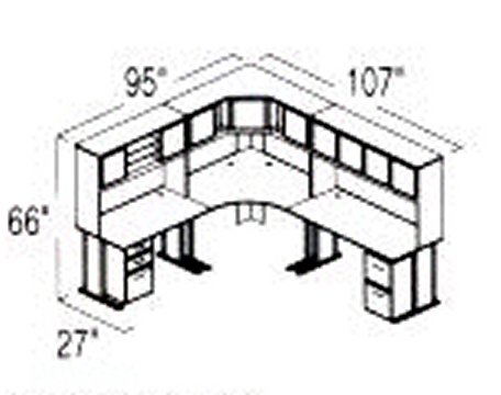 Bush Advantage Medium Cherry Design 27 - Plan For 8' by 9' Work Station