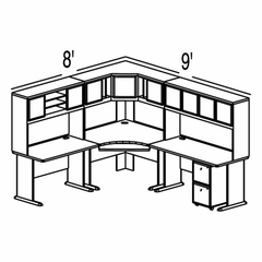 Bush Advantage Medium Cherry Design 28 - Plan For 8' by 9' Work Station
