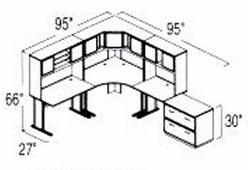 Bush Advantage Medium Cherry Design 29 - Plan For 8' by 10' Work Station