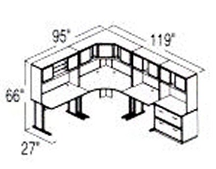 Bush Advantage Medium Cherry Design 30 - Plan For 8' by 10' Work Station