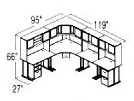 Bush Advantage Medium Cherry Design 31 - Plan For 8' by 10' Work Station