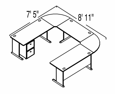 Bush Advantage Medium Cherry Design 33 - Plan For 9' by 8' Work Station