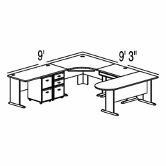Bush Advantage Medium Cherry Design 36 - Plan For 9' by 10' Work Station