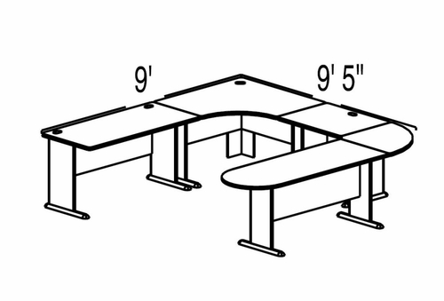Bush Advantage Medium Cherry Design 38 - Plan For 9' by 10' Work Station