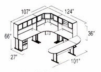 Bush Advantage Medium Cherry Design 39 - Plan For 9' by 11' Work Station