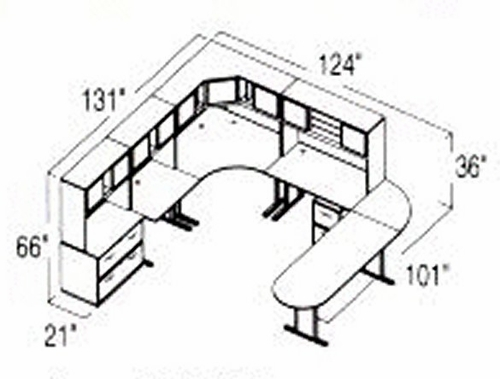 Bush Advantage Medium Cherry Design 41 - Plan For 11' by 11' Work Station