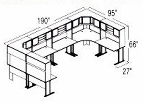 Bush Advantage Medium Cherry Design 46 - Plan For Multi-Station 8' by 8' Work Station