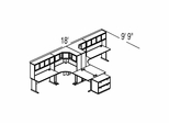 Bush Advantage Medium Cherry Design 51 - Plan For 19' by 10' Work Station