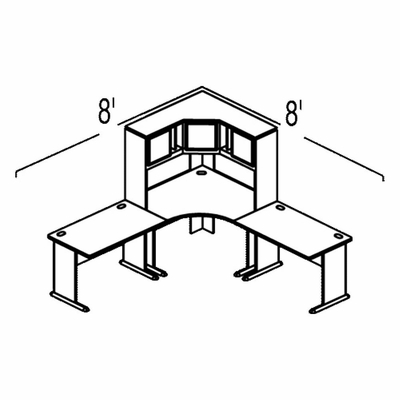 Bush Advantage Pewter Design 19 - Plan For 8' by 8' Work Station