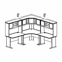 Bush Advantage Pewter Design 21 - Plan For 8' by 8' Work Station