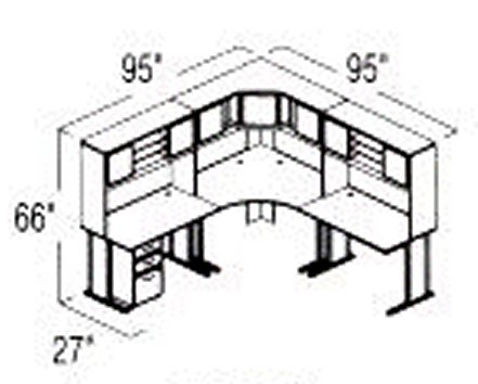 Bush Advantage Pewter Design 22 - Plan For 8' by 8' Work Station