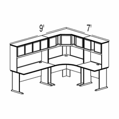 Bush Advantage Pewter Design 35 - Plan For 9' by 7' Work Station
