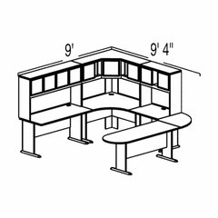 Bush Advantage Pewter Design 37 - Plan For 9' by 10' Work Station