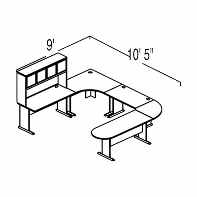 Bush Advantage Pewter Design 40 - Plan For 9' by 11' Work Station