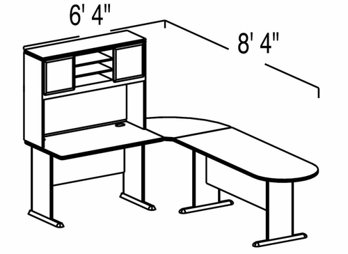 Bush Advantage Pewter Design 5 - Plan For Smaller Work Station