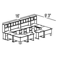 Bush Advantage Pewter Design 50 - Plan For 16' by 10' Work Station