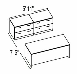 "Bush C Series Corsa Hansen Cherry Design 13 - Plan For 5' 11"" x 7' 5"" Work Station"