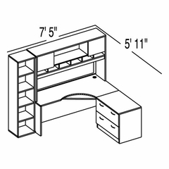 "Bush C Series Corsa Hansen Cherry Design 15 - Plan For 5' 11"" x 7' 5"" Work Station"