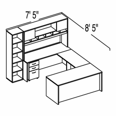 "Bush C Series Corsa Hansen Cherry Design 36 - Plan For 7' 5"" x 8' 5"" Work Station"
