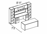 "Bush C Series Corsa Hansen Cherry Design 38 - Plan For 7' 5"" x 8' 11"" Work Station"