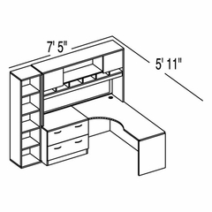 "Bush C Series Corsa Light Oak Design 16 - Plan For 5' 11"" x 7' 5"" Work Station"