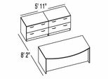 "Bush C Series Corsa Light Oak Design 17 - Plan For 5' 11"" x 8' 2"" Work Station"
