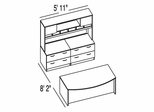 "Bush C Series Corsa Light Oak Design 18 - Plan For 5' 11"" x 8' 2"" Work Station"