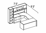 "Bush C Series Corsa Light Oak Design 34 - Plan For 7' 5"" x 8' 5"" Work Station"