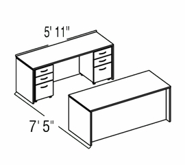 "Bush C Series Corsa Mahogany Design 12 - Plan For 5' 11"" x 7' 5"" Work Station"