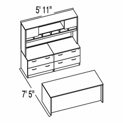 "Bush C Series Corsa Mahogany Design 14 - Plan For 5' 11"" x 7' 5"" Work Station"