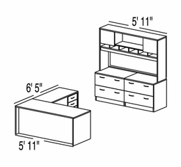 "Bush C Series Corsa Mahogany Design 33 - Plan For 5' 11"" x 13' Work Station"