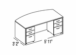 "Bush C Series Corsa Medium Cherry Design 1 - Plan For 3' 2"" x 5' 11"" Work Station"