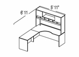 "Bush C Series Corsa Medium Cherry Design 11 - Plan For 5' 11"" x 6' 11"" Work Station"