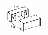 "Bush C Series Corsa Medium Cherry Design 12 - Plan For 5' 11"" x 7' 5"" Work Station"