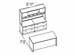 "Bush C Series Corsa Medium Cherry Design 14 - Plan For 5' 11"" x 7' 5"" Work Station"
