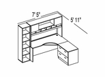 "Bush C Series Corsa Medium Cherry Design 15 - Plan For 5' 11"" x 7' 5"" Work Station"