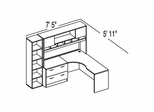 "Bush C Series Corsa Medium Cherry Design 16 - Plan For 5' 11"" x 7' 5"" Work Station"