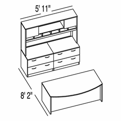 "Bush C Series Corsa Medium Cherry Design 18 - Plan For 5' 11"" x 8' 2"" Work Station"