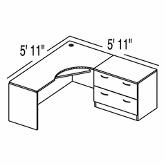 "Bush C Series Corsa Medium Cherry Design 2 - Plan For 5' 11"" x 5' 11"" Work Station"
