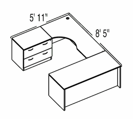 "Bush C Series Corsa Medium Cherry Design 23 - Plan For 5' 11"" x 8' 5"" Work Station"