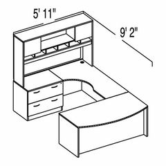 "Bush C Series Corsa Medium Cherry Design 27 - Plan For 5' 11"" x 9' 2"" Work Station"